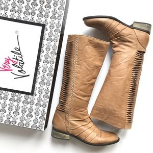 VERY VOLATILE Tall Leather Tan Riding Boots 7